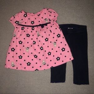 Gymboree Pink Mouse Top & Navy Leggings